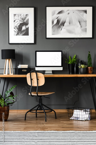 Canvas Hoogte schaal Wooden home office interior