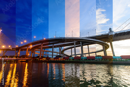 Different shade color in different time Beautiful Big Bhumibol Bridge in sunset time / Big Suspension bridge in Sunset time