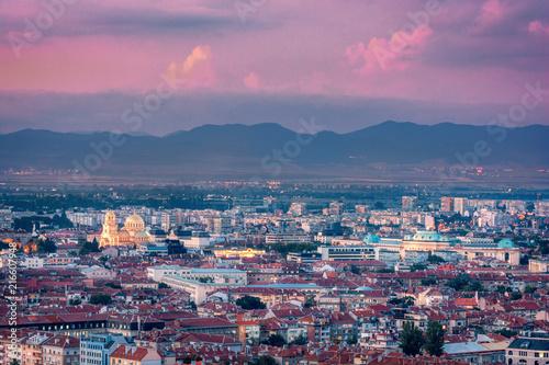 Plakat Beautiful aerial view over Sofia, the capital of Bulgaria