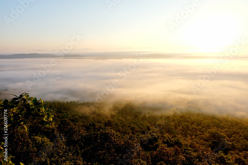 Foto Spatwand Zonsopgang Sunrise at the view point in forest have fog, Phayao, Thailand.