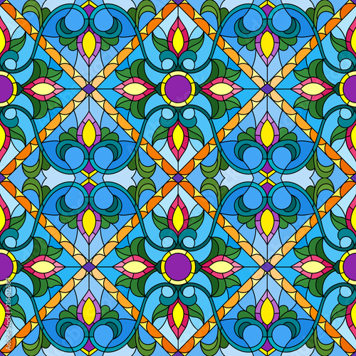 seamless-pattern-in-the-style-of-a-stained-glass-window-with-abstract-floral-ornament
