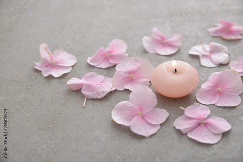 Foto Murales Many Pink hydrangea petals with candle on gray background