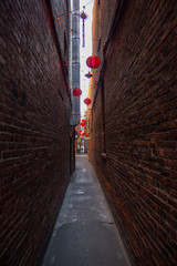 A narrow passage between the streets in the oldest Chinatown in Canada