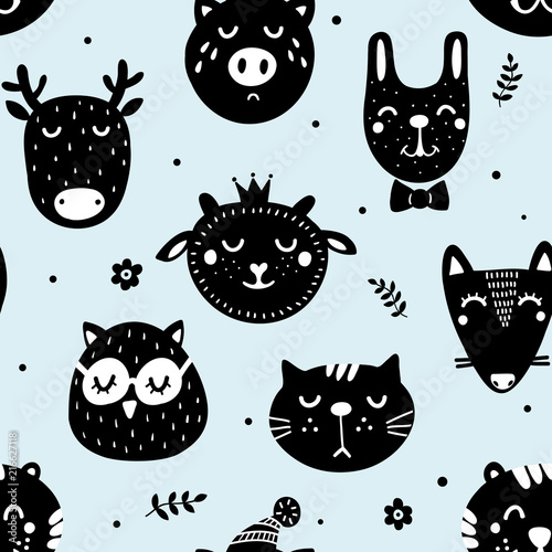 In de dag Hipster Hert Monochrome seamless pattern in scandinavian style with cute doodle animals.