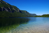 Landscape Bohinj Lake,with clear water.