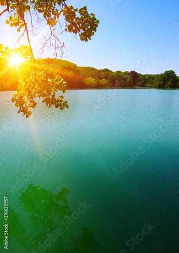 Canvas Blauwe hemel Lake water and sun