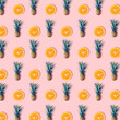 Pineapple and orange on pastel color background - 216634387
