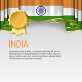 India flag background with badge. Flag of India.