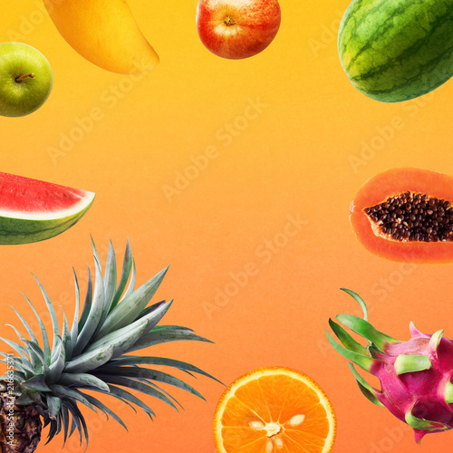 Set of fruits on olor background.holiday summer concepts.healthy eating - 216635371
