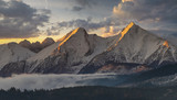 Tatra mountain peaks at sunrise in the winter - 216635728