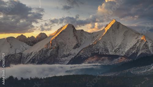 Tatra mountain peaks at sunrise in the winter