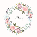 Vector illustration with Eiffel tower with a waterolor floral wreath