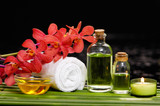 still life with bottle oil with red orchid on soap,candle, rolled towel green plant