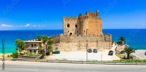 Fotobehang Freesurf beautiful beaches and castles of Italy - Roseto Capo Spulico in Calabria