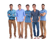 five young casual men standing together at work - 216647578