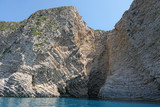 paradise beach of Liapades at Corfu Island (Greece). Sedimentary rock cliff of chalk rocks