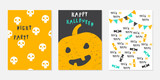 Set of hand drawn Halloween banners or posters. Vector holiday illustration. - 216657597