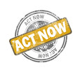 Act now yellow vintage stamp
