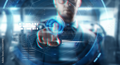 Foto Murales business, augmented reality, technology and cyberspace concept - close up of businessman in suit working with virtual screen over abstract background