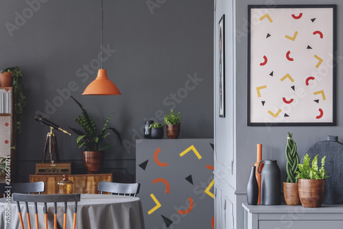 Geometric grey dining room interior