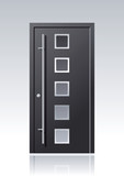 Moderne anthrazit farbene Vektor Haustür mit Glasauschnitten und Edelstahlapplikationen - 216671361