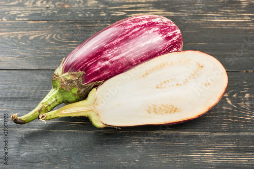 Purple eggplant with half