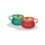 Ceramic pots of onion soup, delicious dish of French cuisine vector Illustration on a white background - 216673519