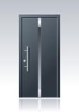 Moderne graue Vektor Haustür mit Glasauschnitten und Edelstahlapplikationen - 216678159