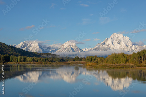 Aluminium Blauwe jeans Scenic Reflection Landscape of the Tetons in Fall