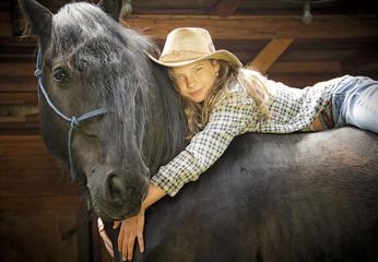 auf dem Rücken eines Pferdes