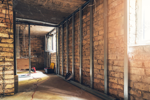 Leinwandbild Motiv old basement renovation in process
