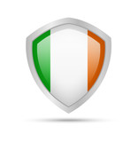 Shield with Ireland flag on white background. Vector illustration.