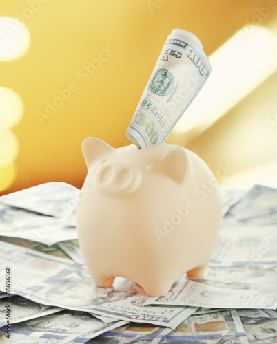 Piggy bank with money on blurred background