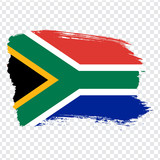 Flag of South Africa, brush stroke background.  Flag South Africa on transparent background for your web site design, logo, app, UI. Stock vector. Vector illustration EPS10. - 216696922