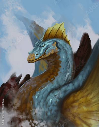 Amphibious blue and orange dragon with crashing waves in the background