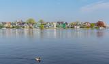 houses along the canal in Zaandam, Zaanse Schans, Netherlands