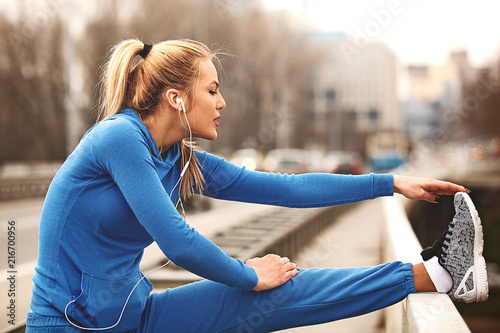 Enjoying after exercise - 216700956
