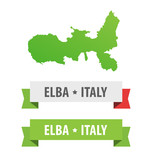 Set of Ribbons with Elba, Italy caption and Map of Elba Island in Italy. Vector design elements isolated on white.