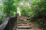 Crude stairs and wooden railings leading to next tier at Erawan Falls, in Kanchanaburi province, Thailand.