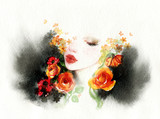 beautiful woman. fashion illustration. watercolor painting - 216717938