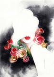beautiful woman. fashion illustration. watercolor painting - 216717980