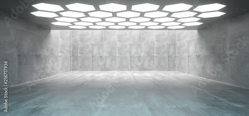 Leinwanddruck Bild Futuristic Interior Underground Concrete Room With Hexagon Shaped White Lights On The Ceiling With Empty Space Wall 3D Rendering