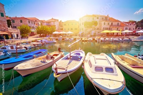 Leinwanddruck Bild Town of Postira seafront view