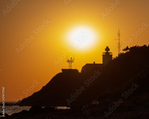 Aluminium Vuurtoren Røsnæs lighthouse by sunset