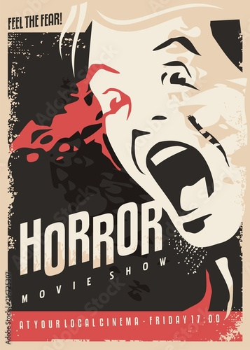 In de dag Vintage Poster Horror movie show retro cinema poster design with scared man screaming and lots of blood on dark background.