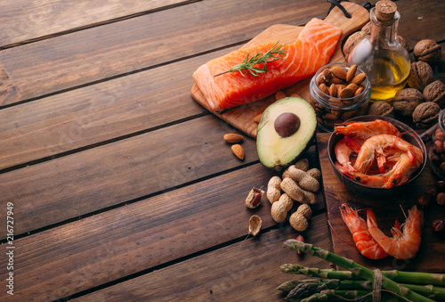 Top view of Large group of food and good fats - 216727949