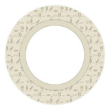 Ancient Egyptian hieroglyphs imitation inscriptions gray brown symbols a wreath vector greeting card round with a white area in the center. - 216735765