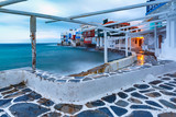 Famous view of Mikri Venetia or Little Venice at sunrise in Mykonos City, Chora, on the island Mykonos, The island of the winds, Greece - 216735914