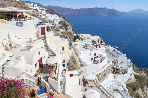 SANTORINI, GREECE - OCTOBER 4, 2015: The look from Oia to east with the Imerovigli and Scaros in the background.
