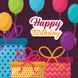 happy birthday gift boxes colors sign ribbon balloons vector illustration